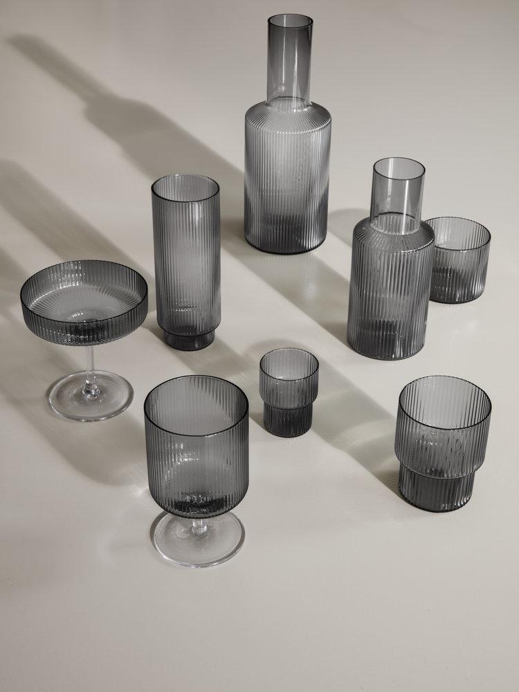 ferm LIVING Ferm Living Ripple Glass (Set of 4) - Small - Smoked Glass