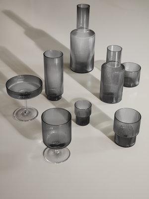 ferm LIVING ferm LIVING Ripple Wine Glasses (Set of 2) - Smoked Glass