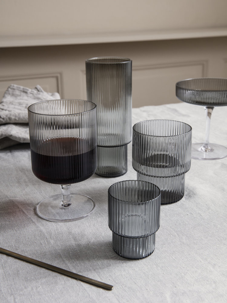 ferm LIVING ferm LIVING Ripple Wine Glasses (Set of 2) - Smoked Glass