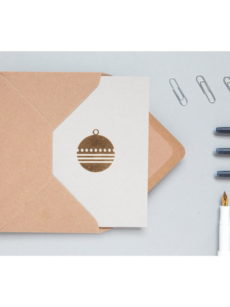 Ola Ola Foil Blocked Cards: Bauble Light Grey/Brass