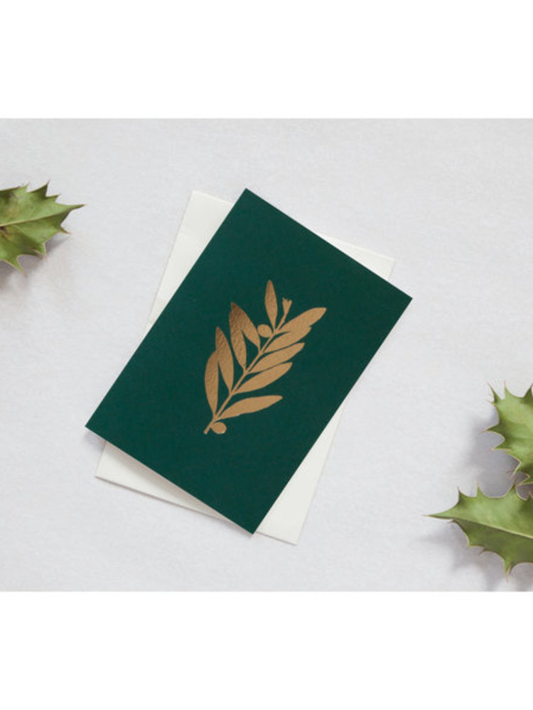 Ola Ola Foil Blocked Card Botanical Collection - Olive