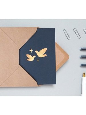 Ola Foil Blocked Cards: Two Doves Pack of 6