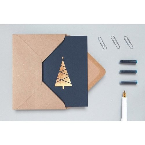 Ola Foil Blocked Cards: Christmas Tree Pack of 6