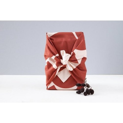 Ola Cotton Wrap: Blocks Print Salmon/Red