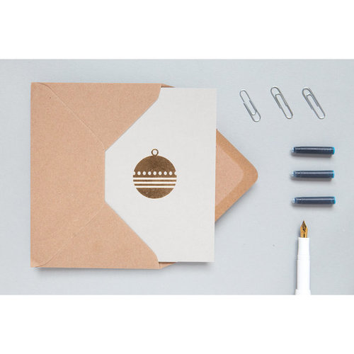 Ola Foil Blocked Cards: Diamond Bauble light grey/brass