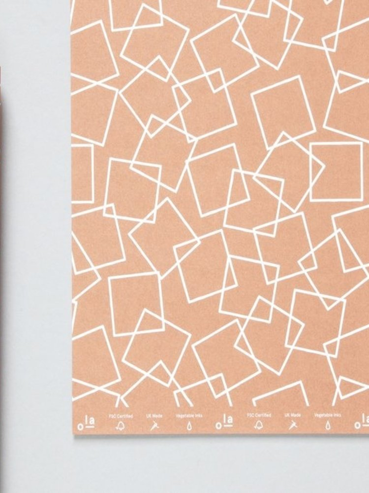 Ola Ola Patterned Papers: Squares Print, Copper