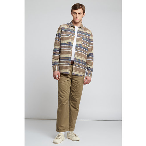 HYMN London 'BLANKET' Flecked Striped Shirt Beige