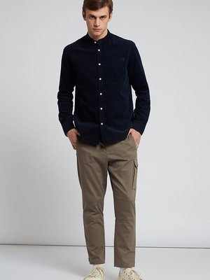 HYMN London 'TUFT' - Micro Cord Mandarin Collar Shirt - Blue