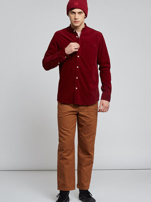 HYMN London 'TUFT' - Micro Cord Mandarin Collar Shirt - Red