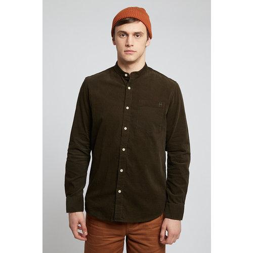 HYMN London 'TUFT' - Micro Cord Mandarin Collar Shirt - Khaki