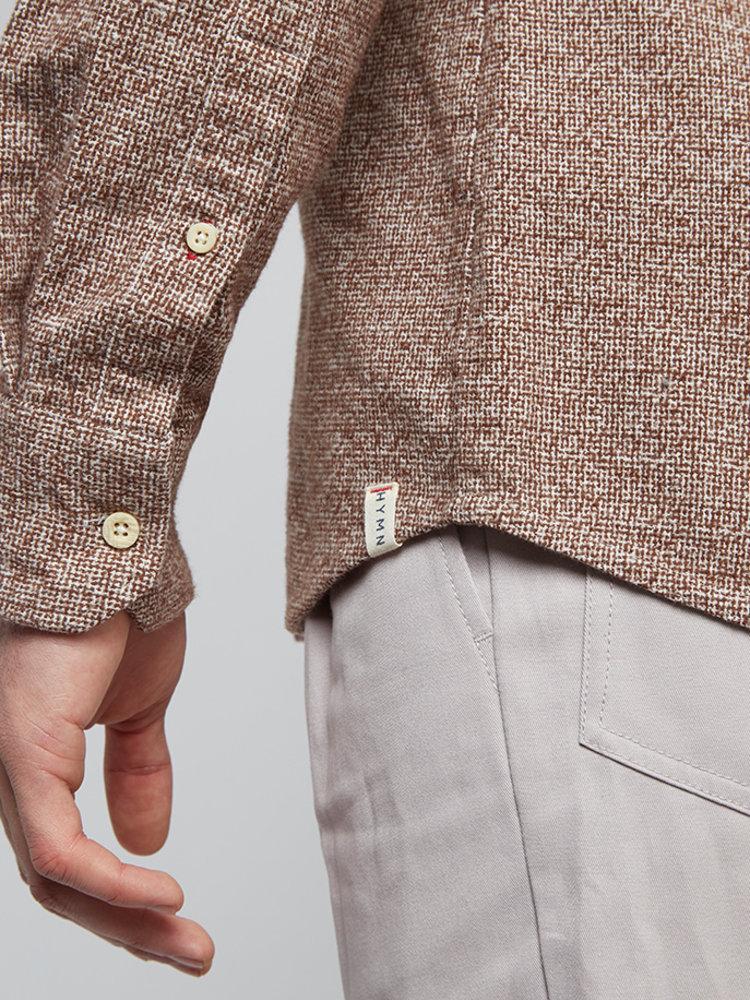HYMN London HYMN 'PENNYLANE' - Tan Flecked Penny Collar Shirt