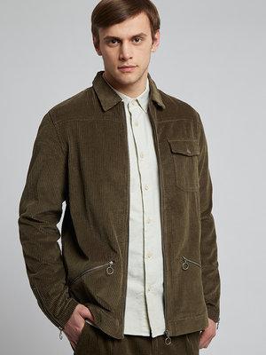 HYMN London 'RIDGEWELL' Zipped Cord Overshirt Khaki