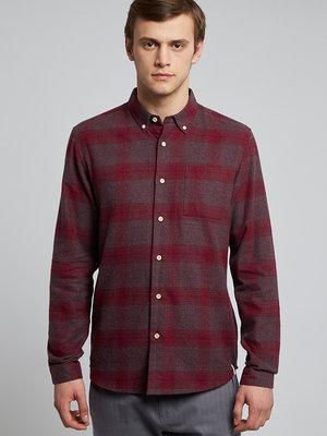 HYMN London HYMN 'SAMMONDS' Melange Red Check Flannel Shirt - Red