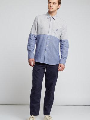 HYMN London 'DIVIDE' Split Striped Shirt - Blue