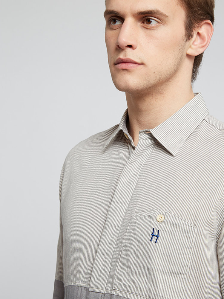 HYMN London HYMN 'DIVIDE' Split Striped Shirt - Grey