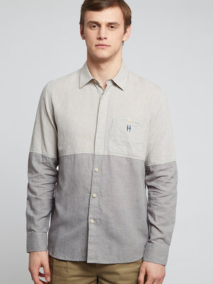 HYMN London 'DIVIDE' Split Striped Shirt - Grey