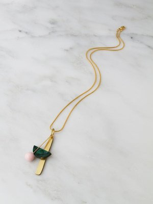 Wolf & Moon Abstract I Necklace - Green Marble