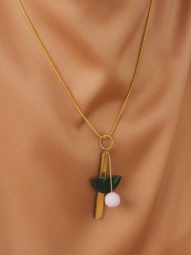 Wolf & Moon Wolf & Moon Abstract I Necklace - Green Marble