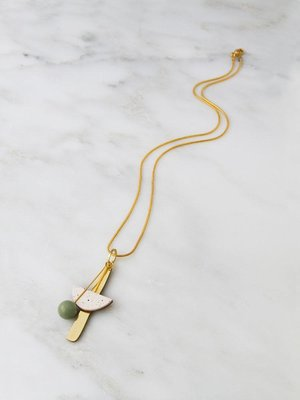 Wolf & Moon Abstract I Necklace - Eggshell