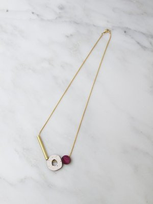 Wolf & Moon Cutout Necklace  - Cherry