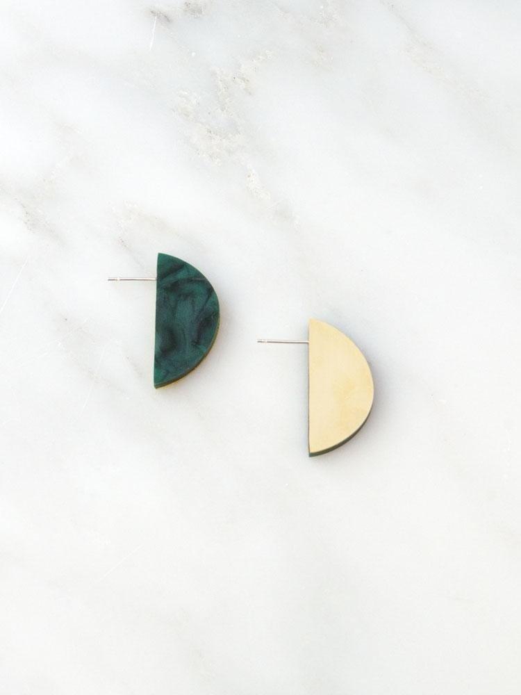 Wolf & Moon Wolf & Moon Half Circle Studs - Green Marble