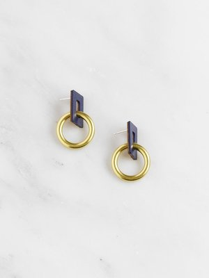 Wolf & Moon Mini Etta Earrings - Midnight Blue
