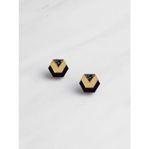 Wolf & Moon Originals Little Hex Studs - Black/Gold/Black Glitter