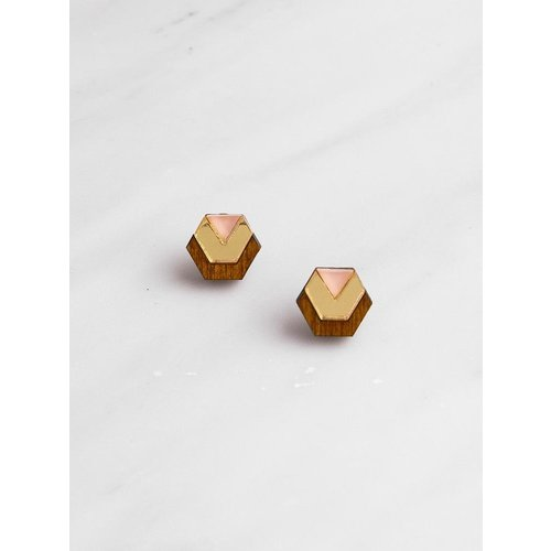 Wolf & Moon Originals Little Hex Studs - Wood/Gold/Peach