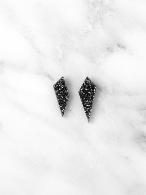 Wolf & Moon Mini Shard Studs - Black Glitter