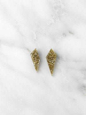Wolf & Moon Wolf & Moon Mini Shard Studs - Gold Glitter