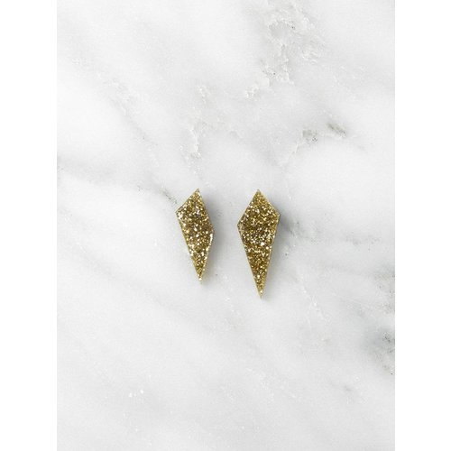 Wolf & Moon Mini Shard Studs - Gold Glitter