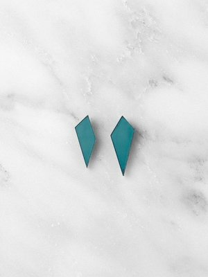 Wolf & Moon Mini Shard Studs - Teal