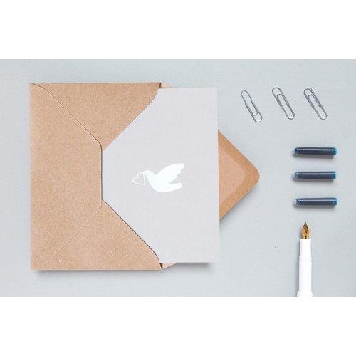 Ola Ola Foil Blocked Cards: Love Dove Grey/White
