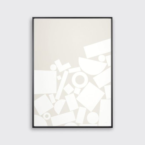 Tom Pigeon 'Stack' - Grey Print - 500x700mm