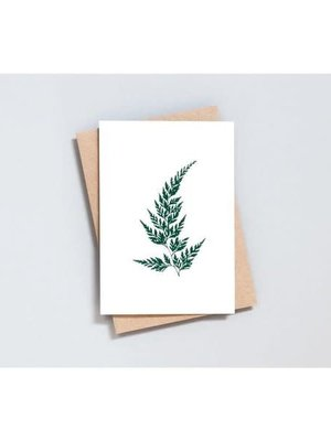 Ola Foil Blocked Card Botanical Collection - Wood Fern Print in Ivory/Green