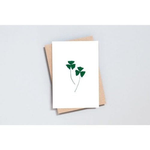 Ola Foil Blocked Card Botanical Collection - Oxalis Print in Ivory/Green