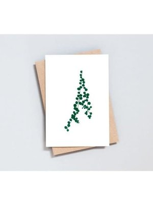 Ola Foil Blocked Card Botanical Collection - String of Pearls Print in Ivory/Green