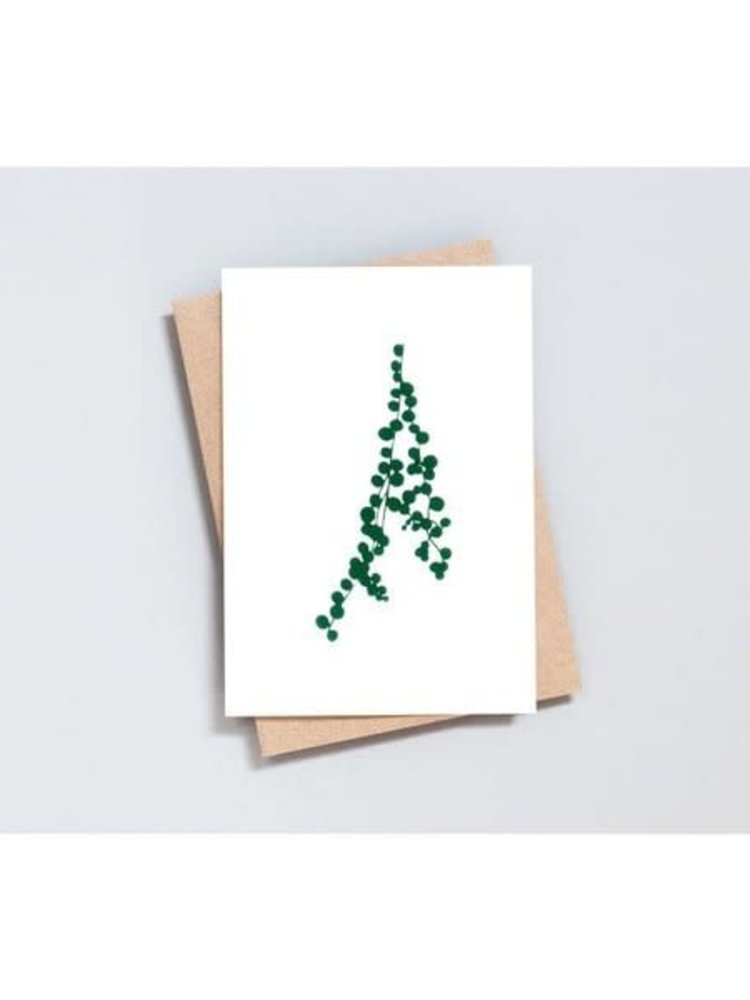 Ola Ola Foil Blocked Card Botanical Collection - String of Pearls Print in Ivory/Green