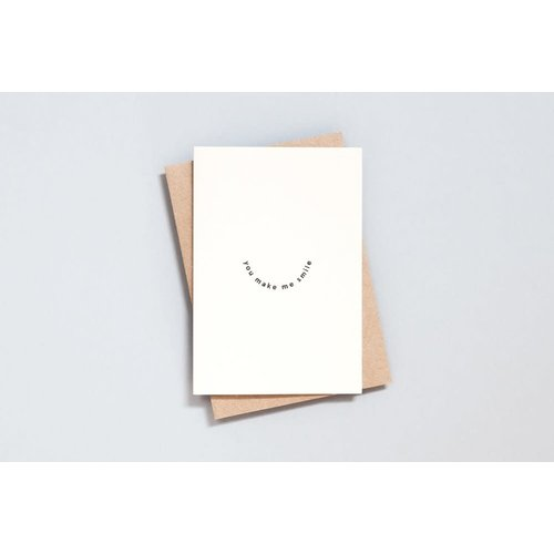 Ola Foil Blocked Card Minimal Collection - You Make Me Smile Print in Natural/Black