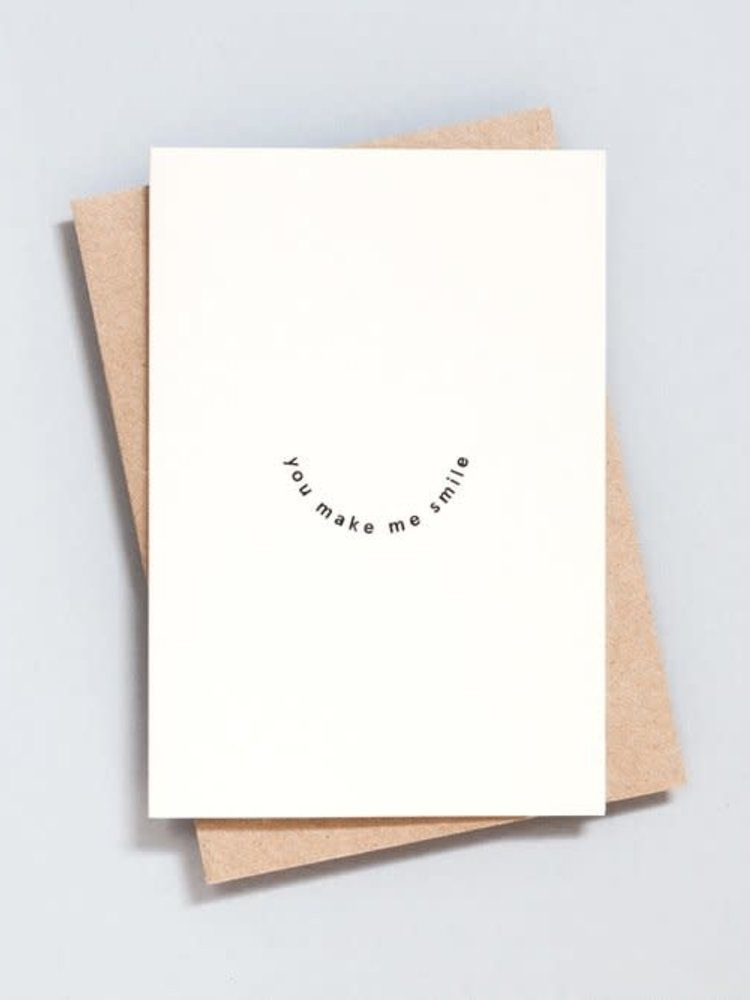 Ola Ola Foil Blocked Card Minimal Collection - You Make Me Smile Print in Natural/Black
