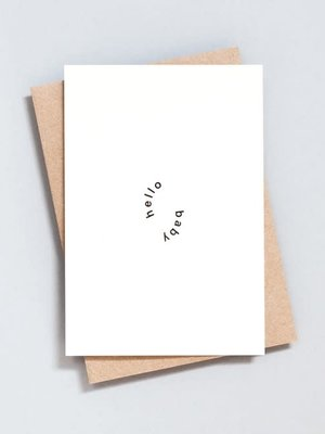Ola Ola Foil Blocked Card Minimal Collection - Hello Baby Print in Natural/Black