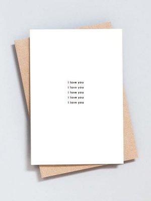 Ola Foil Blocked Card Minimal Collection - I Love You Print in Natural/Black