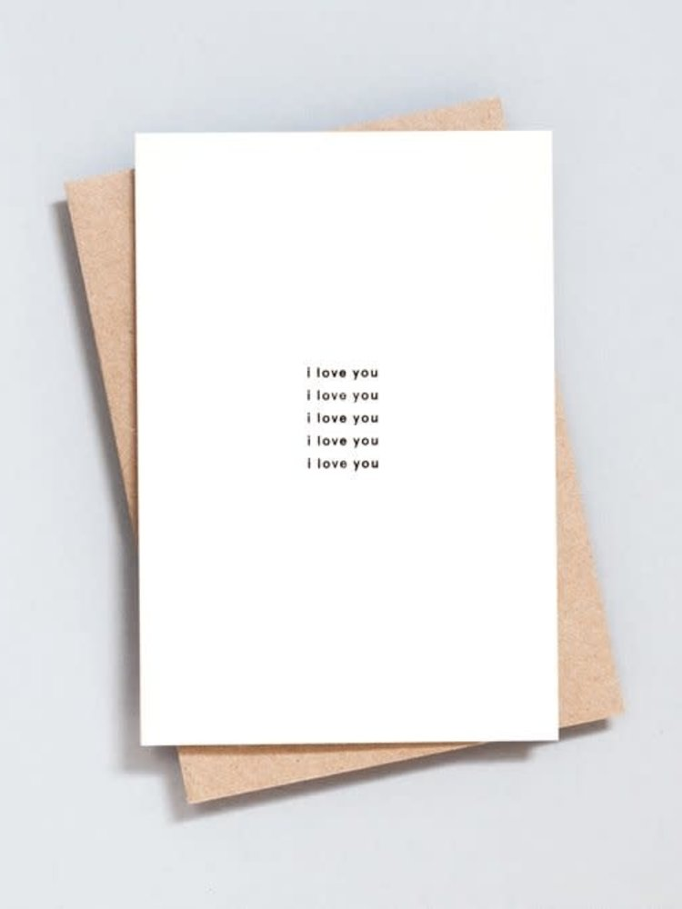 Ola Ola Foil Blocked Card Minimal Collection - I Love You Print in Natural/Black