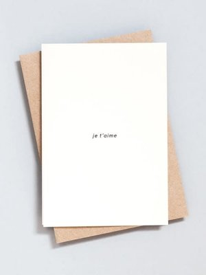 Ola Ola Foil Blocked Card Minimal Collection - Je t'aime Print in Natural/Black