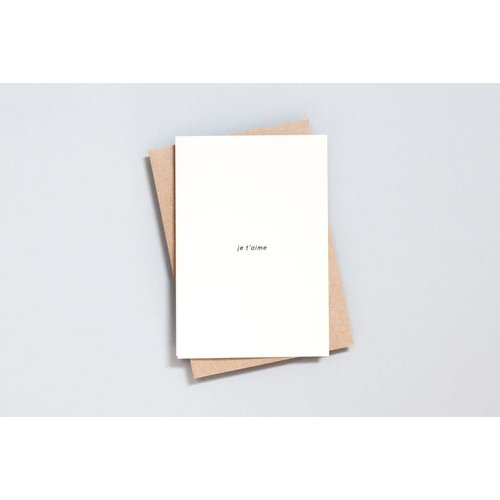Ola Foil Blocked Card Minimal Collection - Je t'aime Print in Natural/Black