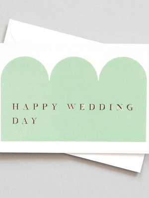 Ola Ola Foil Blocked Card Conscious Collection - Happy Wedding Day Print in Green/Rose Gold
