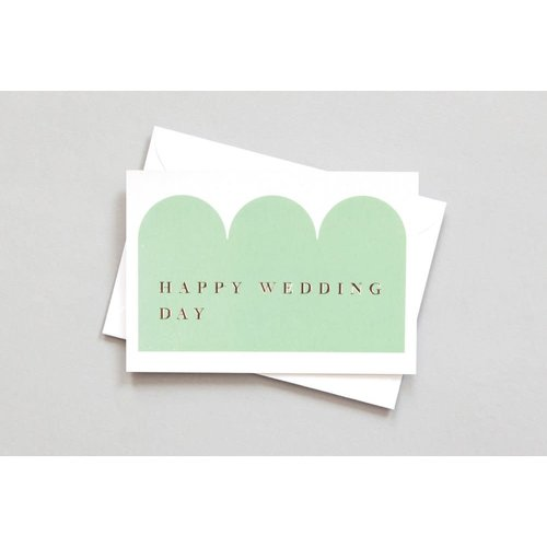 Ola Foil Blocked Card Conscious Collection - Happy Wedding Day Print in Green/Rose Gold