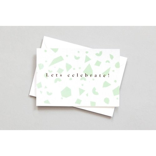 Ola Foil Blocked Card Conscious Collection - Confetti Lets Celebrate Print in Green/Rose Gold