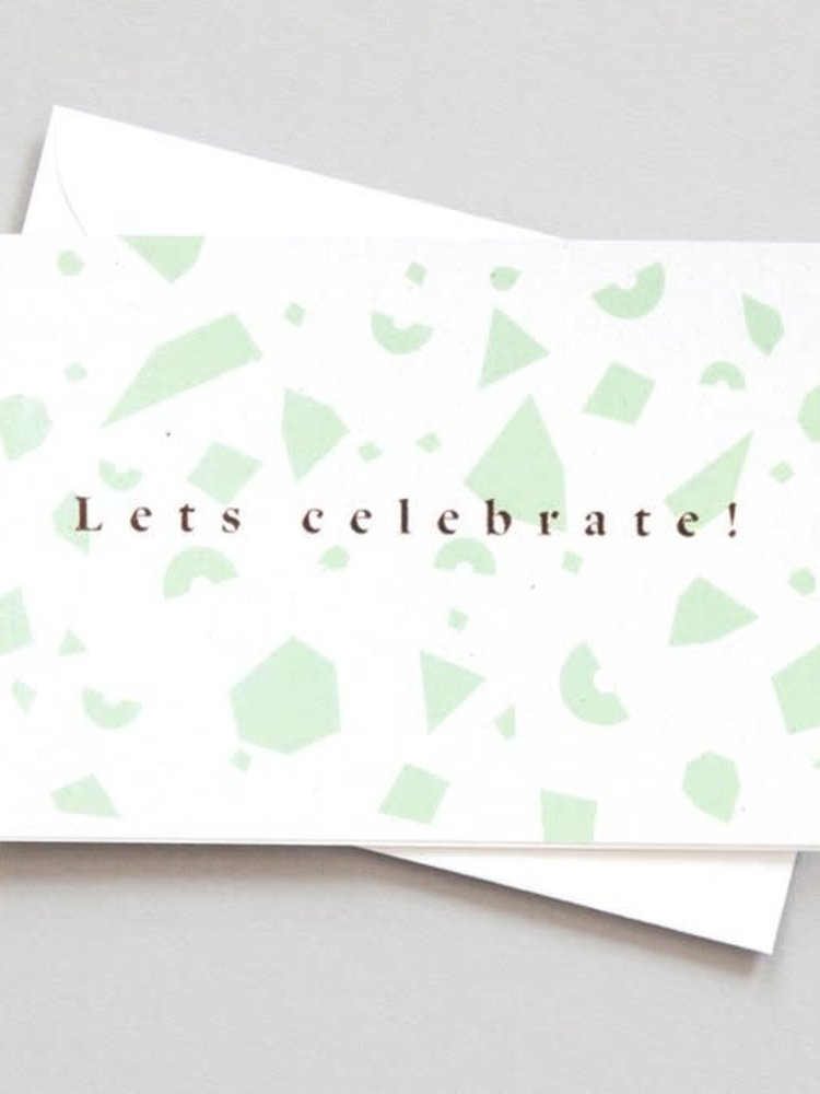 Ola Ola Foil Blocked Card Conscious Collection - Confetti Lets Celebrate Print in Green/Rose Gold