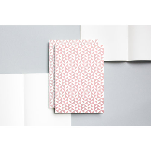 Ola Medium Layflat Notebook - Kaffe Print in Clay Pink/Plain Pages